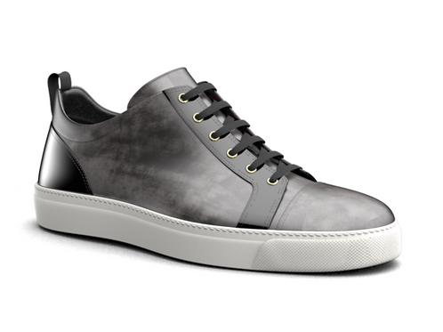 H&R PIETRO LEATHER LOW TOP SNEAKERS - GREY