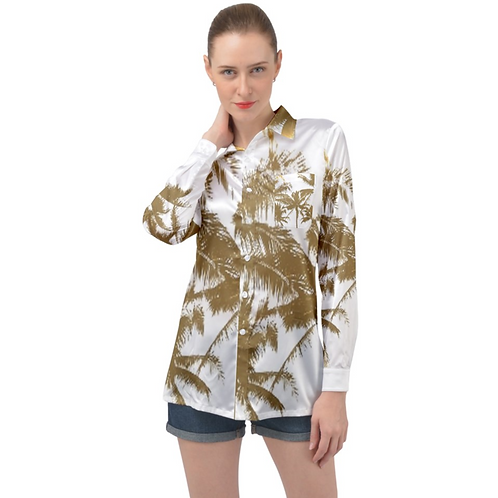 GOLDEN PALMS WOMENS SATIN SHIRT