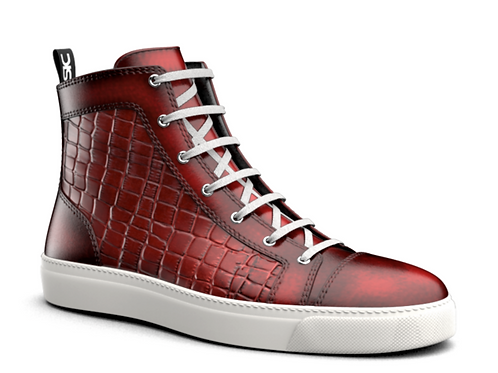 LUX RED CROC PATTERN MENS HIGH TOP SNEAKERS