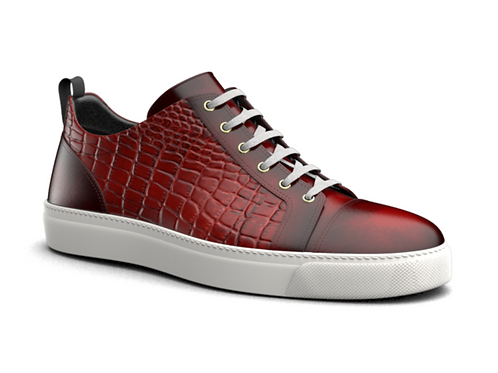 H&R PIETRO LEATHER LOW TOP SNEAKERS - RED CROC