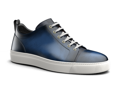 H&R PIETRO LEATHER LOW TOP SNEAKERS - NAVY