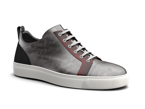 H&R PIETRO LEATHER LOW TOP SNEAKERS - GREY & RED