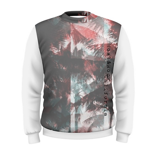 Mens California Red Palms Abstract Crew Sweater