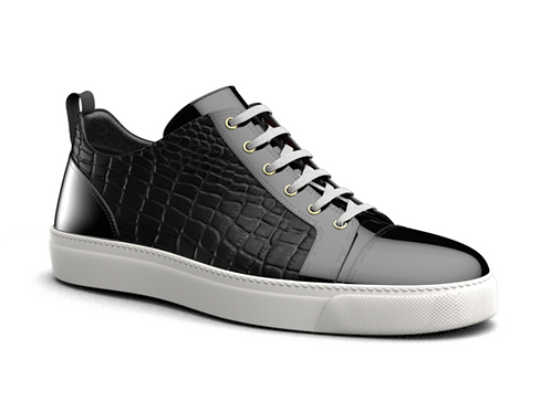 H&R PIETRO LEATHER LOW TOP SNEAKERS - BLACK CROC