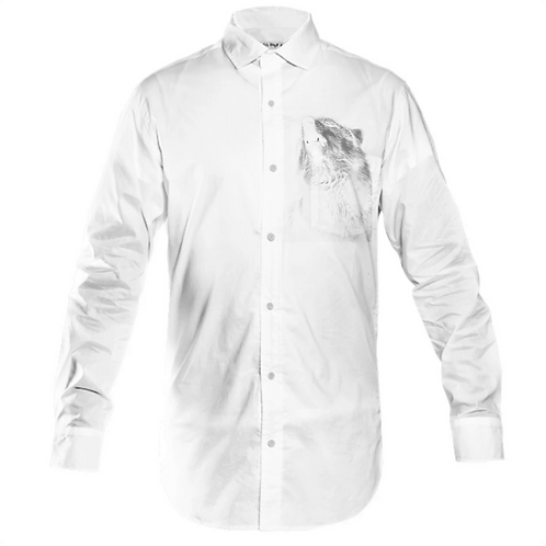 H&R HOWL WOLF MENS BUTTON UP SHIRT