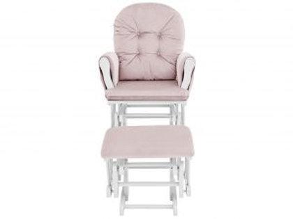 Mason Glider & Ottoman White/Pink