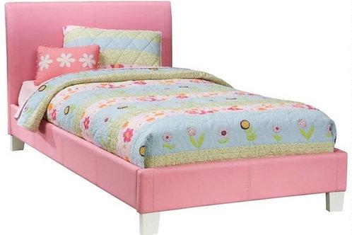 Cama twin o full en vinyl color rosa modelo 45245