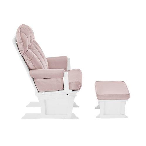 Victoria Glider & Ottoman White/Pink