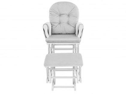 Mason Glider & Ottoman White/Light Gray