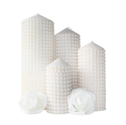 Camille Pearl Beaded Candles Hire