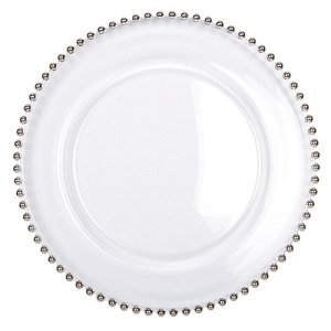 4 x Silver Beaded Charger Plate