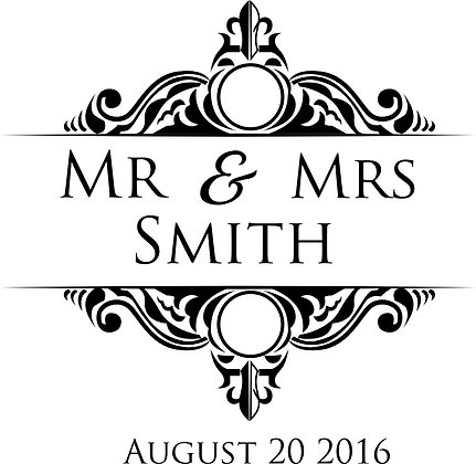 Mr & Mrs Personalised Monogram Stickers