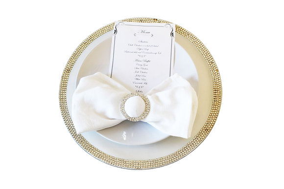 Silver Rhinestone Charger Plate Hire
