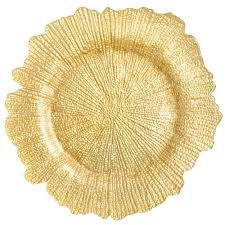 10 x Gold Flower Charger Plate