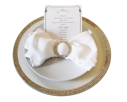 Gold Rhinestone Charger Plate Hire