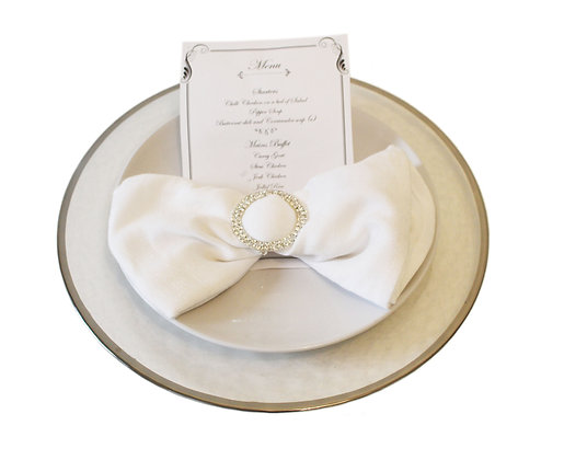 Silver Rimmed Charger Plate Hire