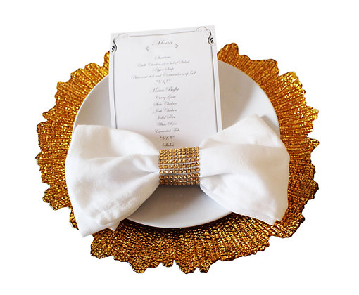 Gold Flower Charger Plates Hire