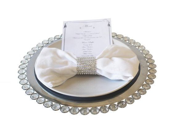 Silver Jeweled Charger Plate Hire