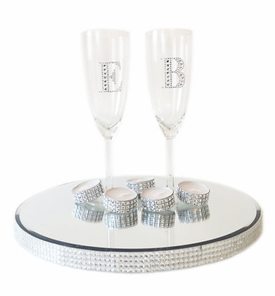 Diamante Initial Champagne Flutes