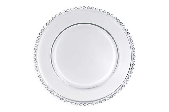 Clear Beaded Charger Plate Hire
