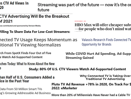 There is an abundance of headlines from the CTV| OTT | Streaming industry
