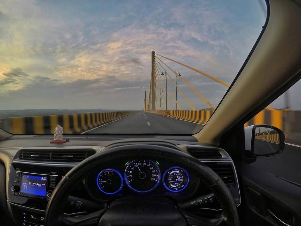 Driving over new bridge