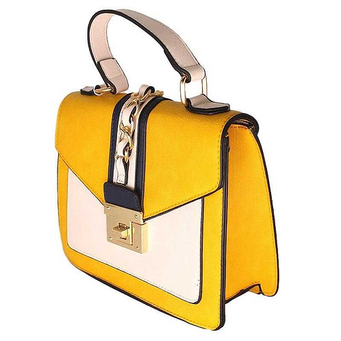 Petit sac à main noir chic – Bicolore blanc & jaune