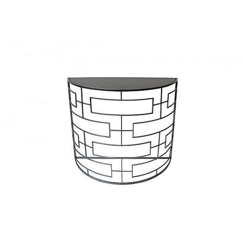CONSOLE DEMI-LUNE MOTIF LIGNES/RECTANGLES COL.GRIS