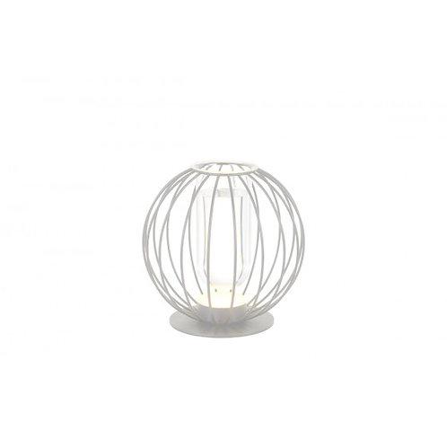 LAMPE BOULE METAL LED/VASE BLANCHE