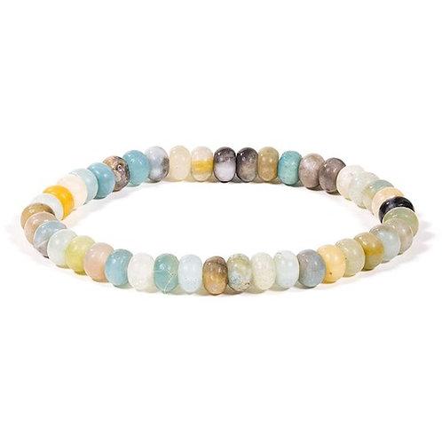 DL13118 Bracelet pierre amazone perles ovales élastique