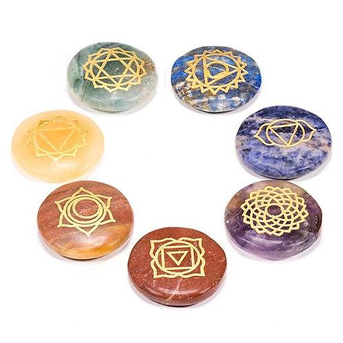 DL16438 SET 7 Pierres dures rondes plates symboles chakra