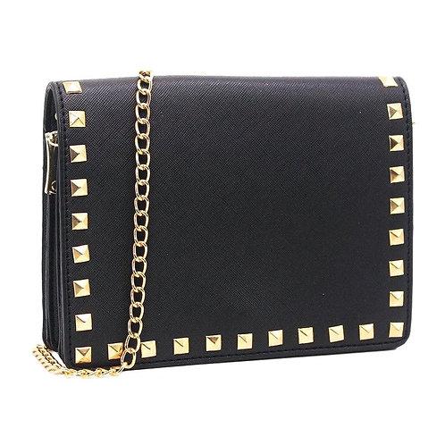 Petit sac à bandoulière clouté – Noir