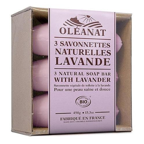 DLTrois savonnettes naturelles lavande BIO