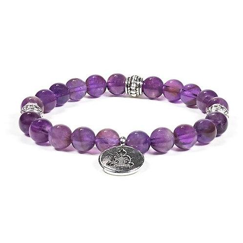 DL12224 Mala / bracelet améthyste élastique Bouddha