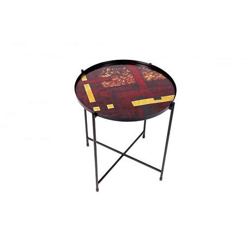 TABLE METAL DECOR GEOMETRIQUE AMBRE/OR