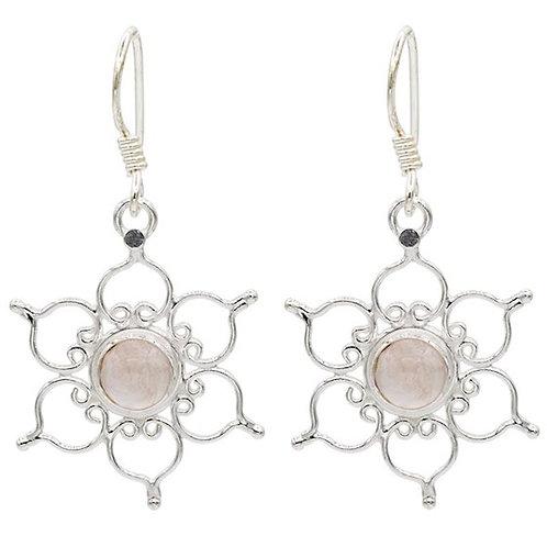 DL78280 Boucles d'oreilles lotus - argent 925 - avec quartz rose