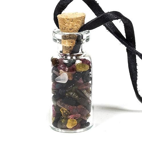 DL13275 Fiole cadeau en verre sur cordon de cire avec tourmaline