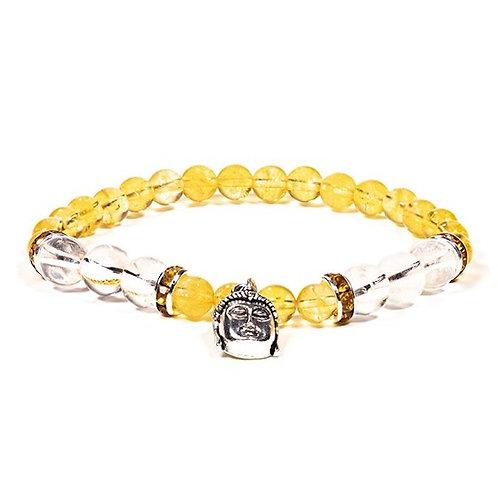 DL12607Bracelet Citrine / Cristal de roche avec Bouddha