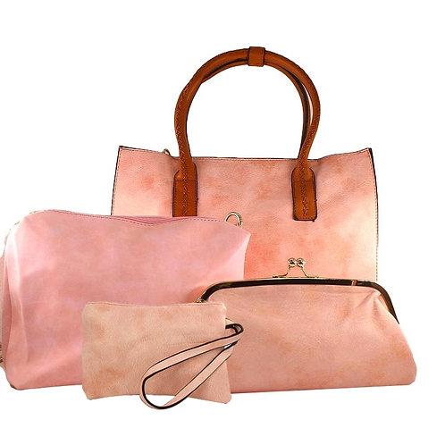 Ensemble de 4 sacs en simili-cuir pailleté rose