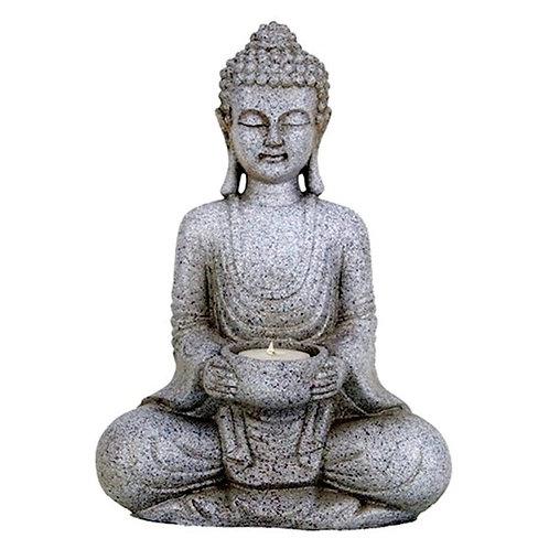 DLBouddha méditant bougeoir couleur gris