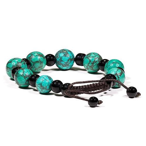 DL15658 Bracelet turquoise et agate noir