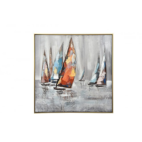 TA5592 - TABLEAU VOILIERS MULTICOLORES 80*80 CADRE OR