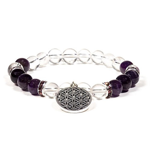 DL12608 Bracelet Cristal de roche / Améthyste + fleur de vie
