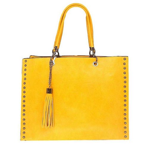 Grand sac à main clouté + pompon – Jaune
