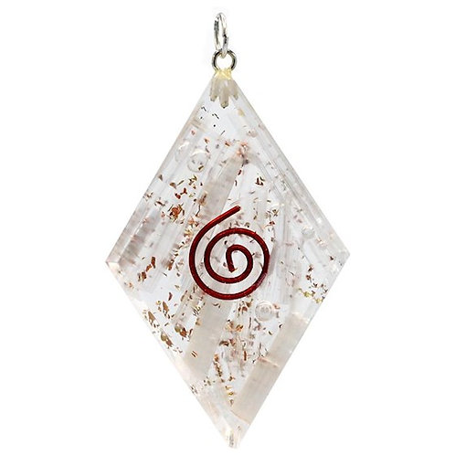 DL78138 Orgonite pendentif Selenite forme de diamant