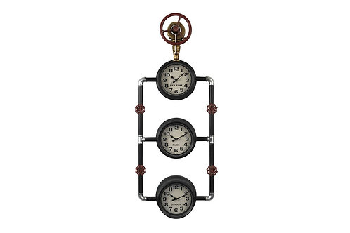 DLPE1847 - PENDULE TRIO PARIS NYC LONDON INDUSTRIELLE