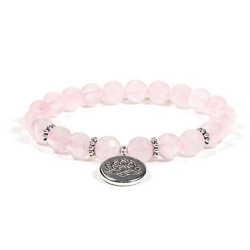 DL12174 Mala / bracelet quartz rose élastique avec Lotus