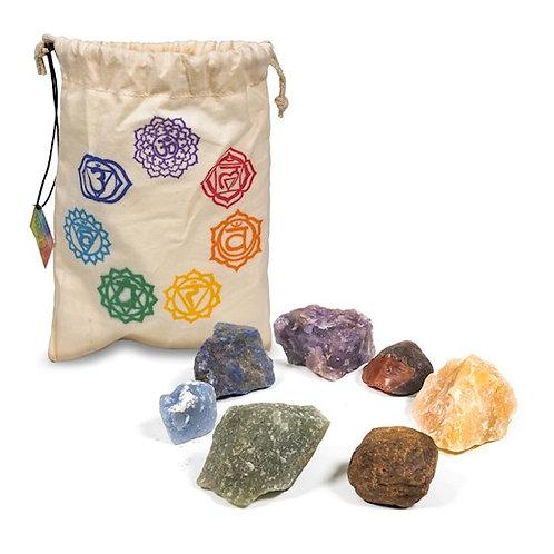 DL13251 Set de 7 pierres des chakra dans un sac en coton