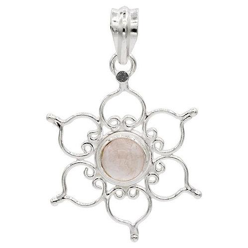 DL78279 Pendentif lotus argent 925 avec quartz rose