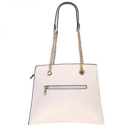 Grand sac à main plissé avec chaines dorées – Blanc